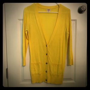 Yellow Button Down 3/4 Sleeve Cardigan